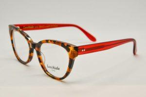 Occhiali da vista Locchiale Design GRACE - HAR - Telaio acetato con frontale avana e stecche rosse