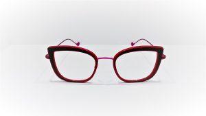 Occhiali da vista Caroline Abram WANDA 611 - montatura in acetato e metallo dalla forma squadrata, colore rossoe fucsia opaco