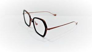 Occhiali da vista Caroline Abram WERA 615 - montatura in acetato e metallo dalla forma squadrata, colore nero e bronzo opaco
