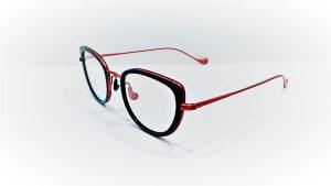 Occhiali da vista Caroline Abram WINONA 613 - montatura in acetato e metallo dalla forma a farfalla, colore turchesee rosa antico opaco
