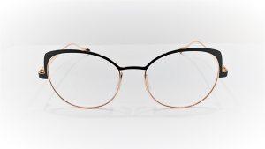 Occhiali da vista Caroline Abram YSEE - 565 - Montatura in metallo dalla forma a farfalla, colore nero opaco e oro lucido